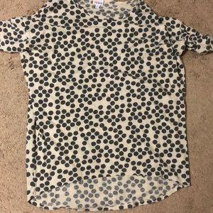 Lularoe Irma Ivory with gray polka dots